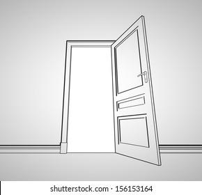 drawing gray room with opened door