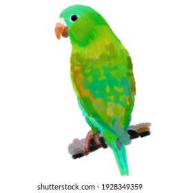 Drawing of a green parrot on a branch