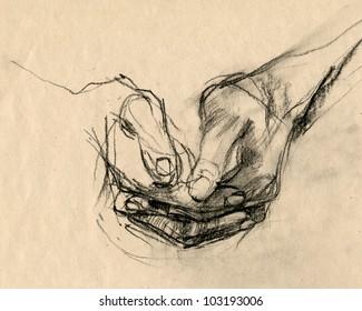 Drawing. HANDS - PALM. Pencil technique.