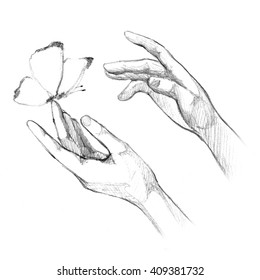 Drawing Hands releasing butterfly. Let go, brush the hand of man, Fly, Freedom.
