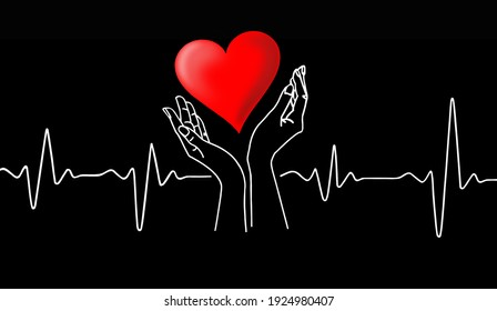 Drawing of a heart cardiogram and hands holding a red heart on a black background.