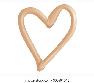 Drawing heart shape with makeup foundation cream on isolated background.