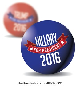 Drawing of Hillary and Trump buttons. Original button designs.