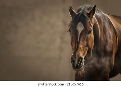 Drawing of a horse, portrait,on brown background