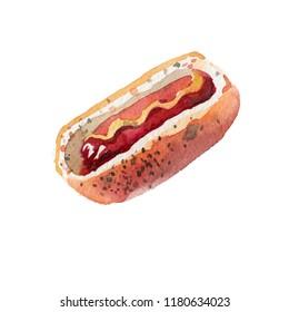 Drawing hot dog watercolor