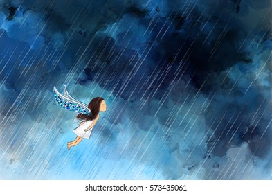 drawing illustration of girl angel with wings flying in raining night dark cloudy sky. Idea of lonely, brave, perseverance, fight, forward template background wallpaper.