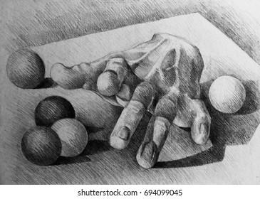 Drawing illustration of gypsum hand