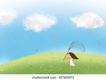 drawing illustration of happy girl chasing over butterfly with catching net. Painting of nature meadow flower hill with bubble blue sky. Idea of dream land, fantasy, spring, cartoon template wallpaper