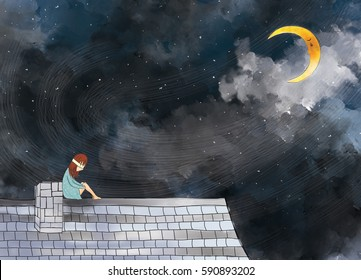 drawing illustration of sad blind girl sitting alone on rooftop. Crescent moonlight clouds dark night sky. Idea of sad, miserable, artistic, imagination, dream, lonely, hurt template background design