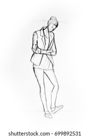 Drawing illustration sketch of girl standing and waiting