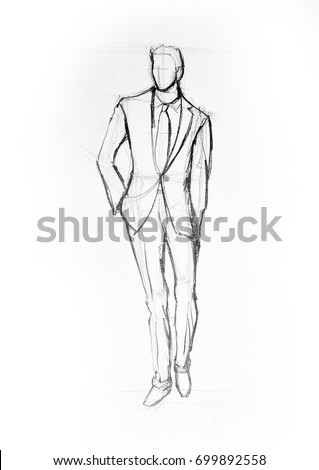Drawing illustration sketch of man in suit walking