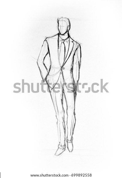 Drawing illustration sketch of man in suit walking
