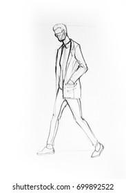 Drawing illustration sketch of man walking
