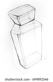 Drawing illustration sketch of perfume bottle