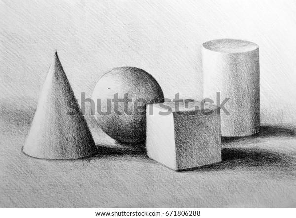 Drawing Illustration Still Life Composition Cylinder Stock