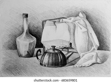 Drawing illustration of still life with drape, glass bottle and kettle