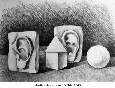 Drawing illustration of still life with gypsum ears and geometric shapes