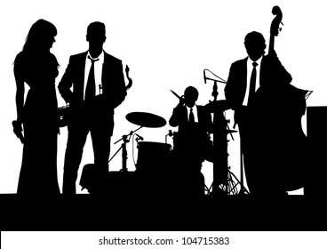 drawing of a jazz band on stage