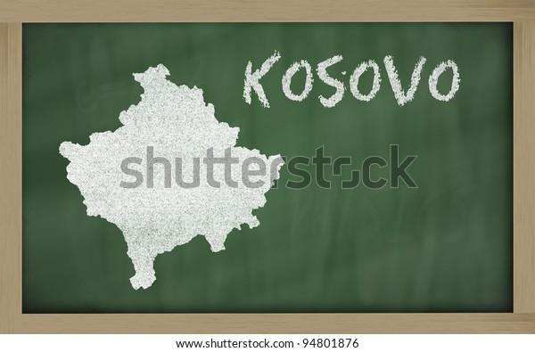 drawing of kosovo on chalkboard, drawn by chalk