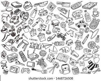 Drawing line drawing of household goods