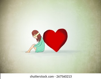 Drawing Of Lonely Girl With Heart Love Depression Valentine Sad Blind
