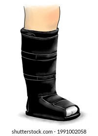 A drawing of a lower leg in a boot used for a broken foot.