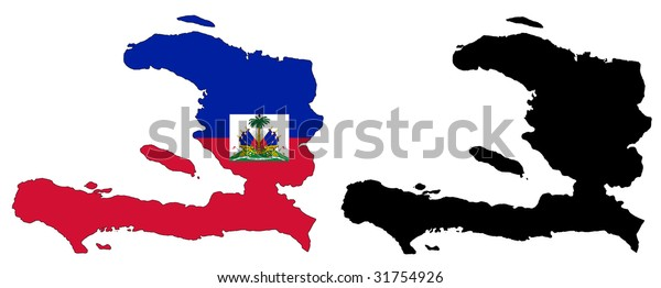 drawing of map and flag of Haiti.