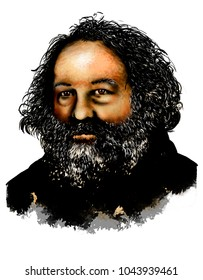 Drawing of Mikhail Bakunin. (1814 -1876) He was a Russian revolutionary anarchist and founder of collectivist anarchism. He is considered among the most influential figures of anarchism.