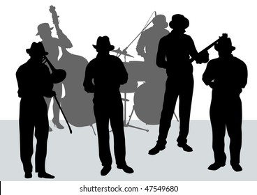 drawing music jazz orchestra. Artists on stage