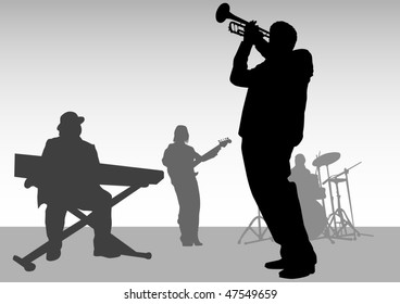 drawing music jazz orchestra. People with musical instruments