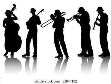 drawing musical group. Silhouettes on a white background