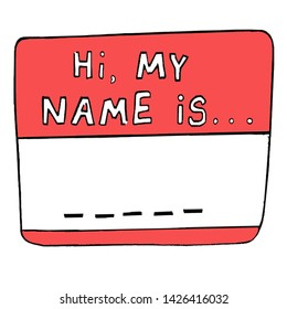 Drawing of a name badge saying 'hi my name is...'
