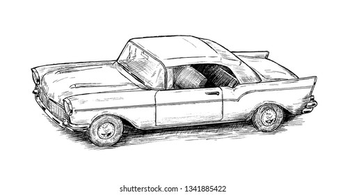 Drawing of oldtimer car - hand sketch of american old vehicle, black and white illustration