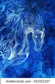 Drawing of ornamental animal. computer collage and blue color structure. Winter effect.