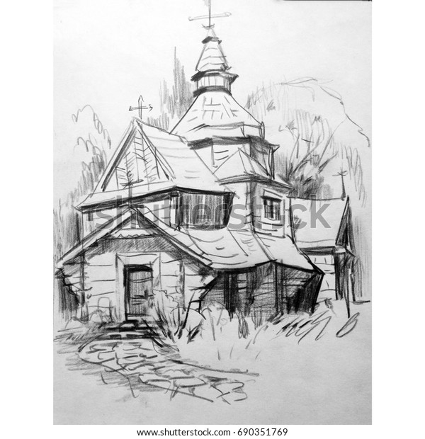 Drawing Pencil Landscape Architecture Church Art Stock Illustration 690351769