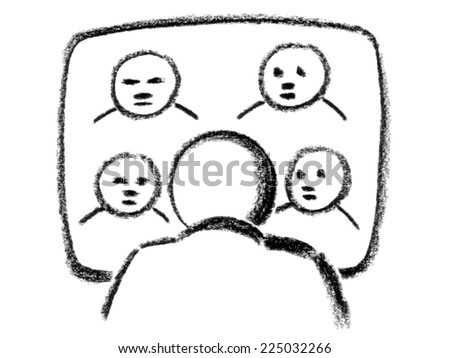 royalty free stock illustration of drawing person behind front