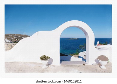 Drawing picture of beautiful Mykonos town at Greece on Canvas.