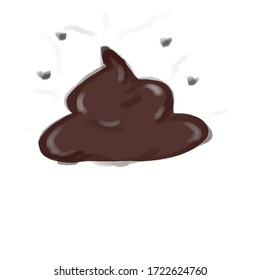 drawing poop on a white background