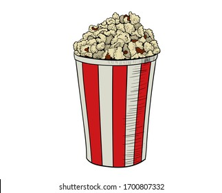 drawing of popcorn in a red glass on a white background