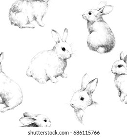 Drawing with rabbits collage cute fuzzy pattern 4 Pencil sketch