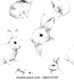 Royalty Free Stock Illustration Of Drawing Rabbits Collage Cute