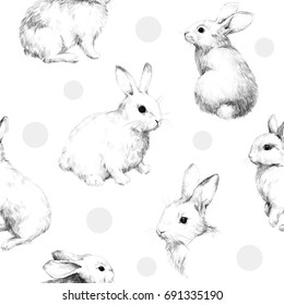 Drawing with rabbits collage cute fuzzy pattern 5 Pencil sketch With circles