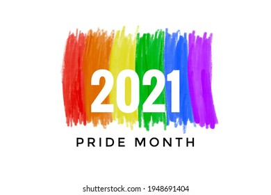 Drawing of rainbow colours with texts '2021 Pride Month', concept for LGBTQ+ community in pride month.