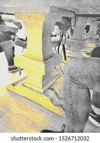 Drawing of relaxed people standing around an office wooden desk sustained by wood pillars, viewed from under the table.