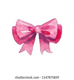 Drawing ribbons, hair bows and gift  box watercolor
