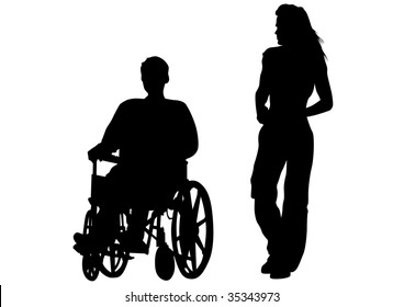 drawing rights in a wheelchair. Silhouette on white background