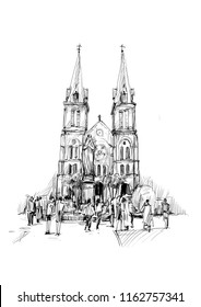 Drawing of Saigon Notre-Dame Cathedral Basilica in Ho Chi Minh city, Vietnam