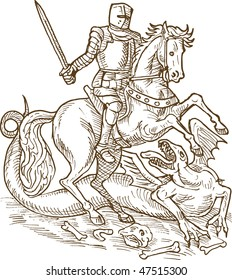 drawing of Saint George knight and the dragon done in black and white