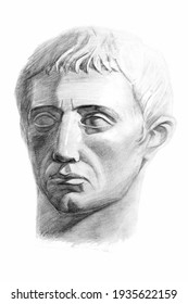Drawing of the sculpture of the head of Germanicus. Isometric projection. Academic pencil drawing. Old drawing