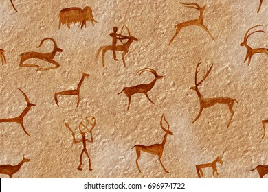 Drawing seamless in a cave painted by an ancient man on a wall, a rock. Paints red orange ocher. Hunting for an animal. Shaman, aboriginal, neanderthal, roe, ram, ship, mammoth, deer. Stone ice age.
